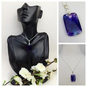 Marble Swirl Blue And Purple Pendant Necklace